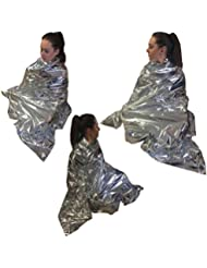 6 PACKS OF STEROPLAST THERMAL SPACE CAMPING HIKING LIGHTWEIGHT FIRST AID SURVIVAL SILVER EMERGENCY FOIL BLANKETS by Steroplast