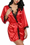 ADOME Damen Morgenmantel kurz kimono damen mit spitze V-Ausschnitt Nachtwäsche Satin Bademantel Schlafanzug