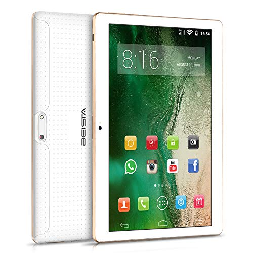 Tablets 10 Pulgadas BEISTA-(Android 7.0,WiFi,3G Tablet,HD IPS,Quad Core,2GB RAM,32GB de Memoria Interna,Soporte para Servicios de Google/Doble SIM/Doble cámara5.0MP+2.0MP/Bluetooth/GPS/OTG)-Blanco