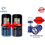 I KALL 1.8 -inch Display Feature Mobile Combo With Multi-Functional Solar Lamp - K12 New (Light Blue + Dark Blue)