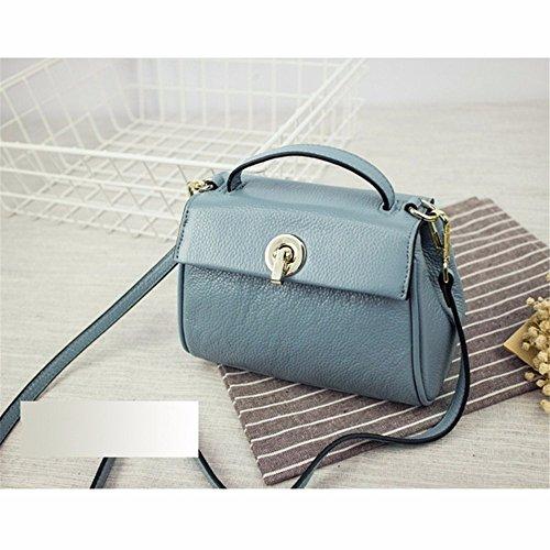 Hand - Der statt Frauen Baotou Schicht Rindsleder Handtasche single Schulter Leder oblique lock Beutel, 19 * 10 * 13 cm Blau