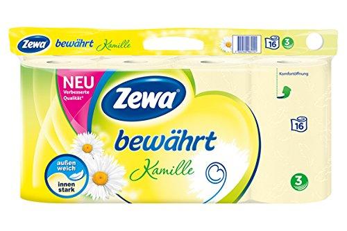 Zewa Toilettenpapier trocken bewährt Kamille, 3-lagig, 16 Stück