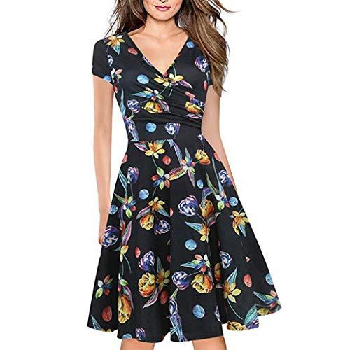 WooCo Blumenkleider Wickelkleider für Damen Sommer, Frauen V-Ausschnitt Arbeitskleid Stretch Party Swing Kleider Tageskleider Chic Design(Schwarz,S)