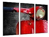 Quadro Su Legno, Moto Vespa Vintage Red, 97 x 62cm, Stampa in qualita fotografica. Ref. 26521