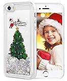wlooo Noël Coque pour iphone Se, Arbre de Noël Scintillant étoiles coule Liquide...