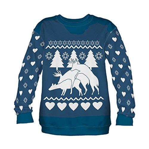 Damen Langarm Sweatshirt Bluse Pullover Full Print S-XL Meeresfarbe Winter Rentiere und Herzen Winter Reindeers [038] -