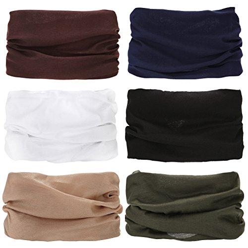 Sea team 6-pack assorted 18 in 1 fibra di poliestere versatile per abbigliamento sportivo e casual copricapo - può essere usato come ghette per il collo, bandane, passamontagna (a-14)