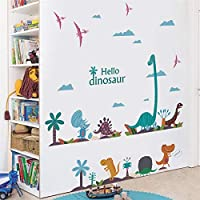 Cute Hello Dinosaur Wall Stickers Bedroom Nursery Home Decorations Animals Wall Decals DIY Posters PVC Mural Art