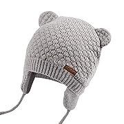 JOYORUN Unisex - Baby Mütze Beanie Strickmütze Unifarbe Wintermütze Grau S