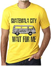 Hombre Camiseta Vintage T-Shirt Gráfico Guatemala City Wait For Me Amarillo