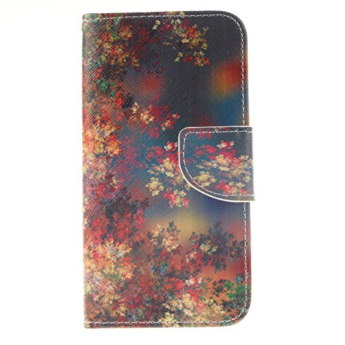 Price comparison product image For Samsung Galaxy S6 Leather Flip Case Cover,Meet de Painted pattern PU Leather Stand Function Protective Cases Covers with Card Slot Holder Wallet Book Design,Soft TPU Silicone Inner Bumper Full Protection Cover Detachable Hand Strap for Samsung Galaxy S6 - Colored flowers