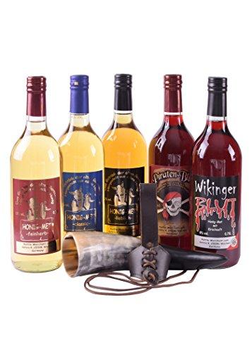 Met Probier-Paket: 5 Flaschen Met mit Trinkhorn & Gürtelhalter - Honigwein Honigmet Geschenk...