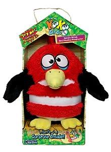 Koo Koo Birds 2081 - Pájaro de Peluche Animado, 15 cm, Color Rojo y Blanco