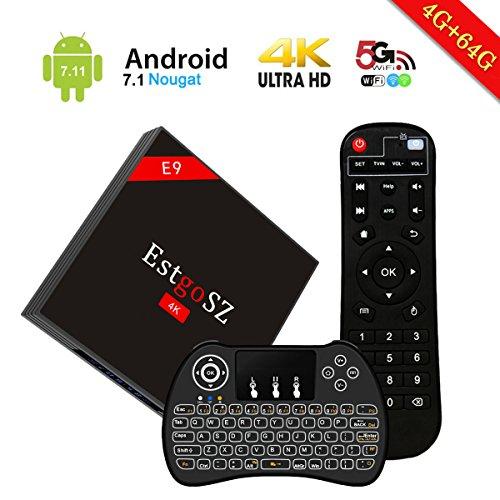 3d Smart-tv-box (EstgoSZ Android 7.1 TV Box 4GB RAM 64GB ROM mit RK3328 Quad Core 64 Bit Prozeßor, 2.4GHz/5.0GHz Dual WiFi,Bluetooth 4.0,3D 4K Ultra HD Smart TV Box mit Backlit Keyboard)