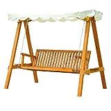 Homcom Balancelle balancoire hamac banc fauteuil de jardin bois de pin 3 places charge max. 500kg