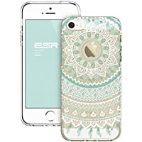 iPhone SE 5S Case, ESR Henna Mandala Floral Designer Hard Shell Case [Clear Back Cover, Slim Fit, TPU Border] Flowers Printed Thin Cute Design Vintage Retro Style for Girly Girls Women Apple iPhone SE 5S 5 (Mint Mandala)