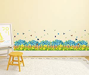 ... Solimo Wall Sticker For Living Room (Blue Floral Picket Fence With  Butterflies Part 58