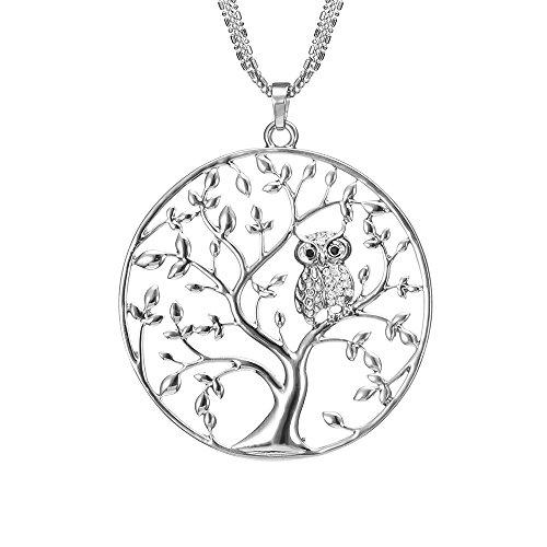 Lange Halskette für Frauen, Baum des Lebens mit Eule Anhänger Halskette für Mädchen Rose Gold und Silber Halskette mit CZ Crystal Kette Halskette (Versilbert) (Anhänger Mit Lange Halskette)