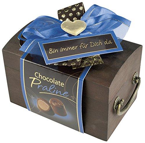 Pralinen Geschenkbox aus Holz | Pralinenschachtel Holztruhe Spruch: Bin immer für Dich da | Kleines Geschenk Geschenkidee Frau Freundin mit Schokolade