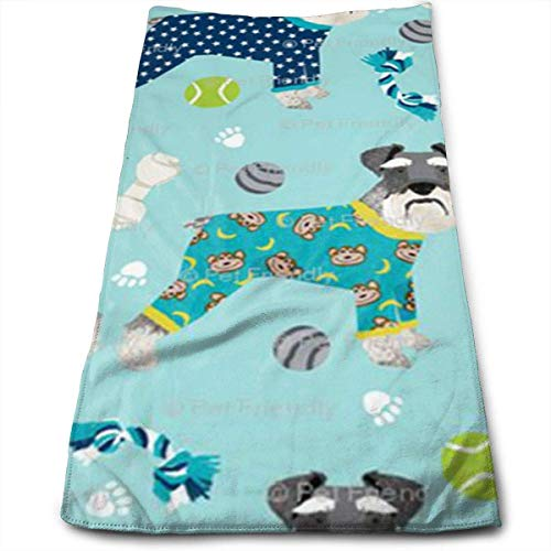 Juzijiang Schnauzers in Jammies Zippered Super Soft, Machine Washable and Highly Absorbent,Towel(Face Towels,for Home, Gym or Sports), 12