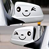 Happy Bargains Ltd SMILE-FACE-CAR-DECAL-BLK Car Wing Door Mirror Stickers Decal Black