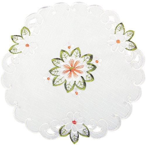 Arsvita Tischdecke mit Stickerei, mit Blumen oder Schmetterlingen bestickte Ø 30cm Decke für den Tisch, in vielen verschiedenen Designs verfügbar (Grün - Orange/Rund) (Orange-blumen-tischdecke)