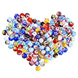 JZZJ 200 Pieces 6 mm Millefiori Glass Round Beads with Single Flower for Jewelry Making Craft DIY Beading Supplies, 6 mm Diameter by