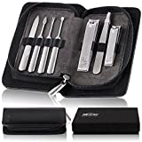 KEZAY Finger and Toenail Clipper Set with Pouch - Manicure and Pedicure Nail-Cutter for Men and Women - Portable, Durable and Travel Friendly Cutting Grooming Kit | Easy Cleaning Stainless Steel Tools