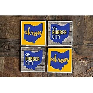 Akron/Coasters/Ohio Gift/Akron Gift/Ohio Coasters/Akron Ohio/Ohio Decor/Ohio Art/Rubber City/Ohio Sign/Akron Art/Map