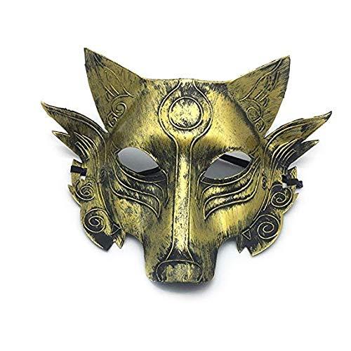 Gesichtsmaske Schild Schleier Wache Bildschirm Domino falsche Front Halloween Make-up Tanz Wolf Kopf Horror Maske Party Tier Werwolf töten Spiel Vollmaske Gold,1