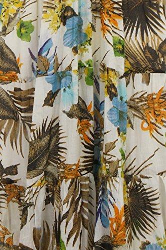 Pistachio Femmes Floral Tropical Coton Robe Bretelle Bleu