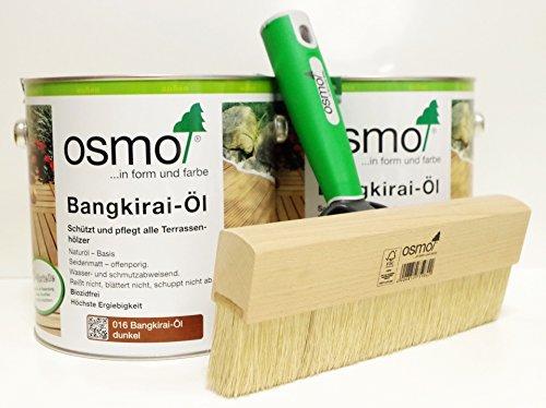 AB.Bauconcept GbR© Kombiangebot: Osmo Bangkirai-Öl Dunkel 016 5 Liter und Osmo Fußbodenstreichbürste 220 mm