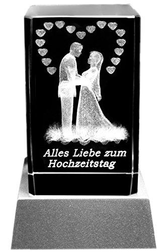 Kaltner Präsente Stimmungslicht - Das perfekte Geschenk: LED Kerze/Kristall Glasblock/3D-Laser-Gravur HOCHZEITSKERZE ALLES LIEBE ZUM HOCHZEITSTAG