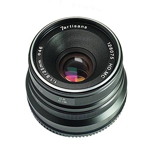 7artesanos 25mm F1.8Lente de enfoque manual para cámaras Fuji Fujifilm X-A1x-a10X-A2x-a3x-at X-M1X-T1X-T10x-t2XM2X-Pro2x-t20X-Pro1X-E1X-E2X-E2s–negro