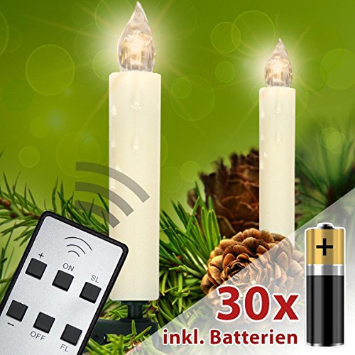 Homelux 30 LED Weihnachtskerzen Christbaumbeleuchtung Warmweiß Fernbedienung Kabellos mit Batterien - 10/20/30/40er Set - DEUTSCHER HÄNDLER