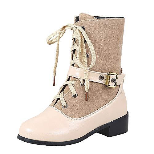 TianWlio Boots Stiefel Schuhe Stiefeletten Frauen Herbst Winter Freizeit  Schnalle Flache Dicke Ferse. 8118c4b542