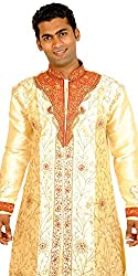 Apparelsonline Mens Dupion Silk Sherwani (AP4000062GL_Gold_Large)