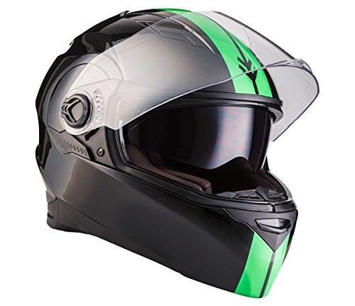 ARROW AF-77 Racing Neon · Cruiser Helmet Integral-Helm Sturz-Helm Motorrad-Helm Urban Roller-Helm Scooter-Helm Sport · ECE zertifiziert · zwei Visiere · inkl. Stofftragetasche · Schwarz · S (55-56cm)