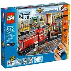 Lego City 3677 - Jeu de construction - Le train de marchandises rouge