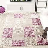 Teppich Creme Rosa Muster Blumen Ornamente Batik Patchwork & Used Look ideal für die Wohnlandschaft - VIMODA, Maße:120 x 170 cm