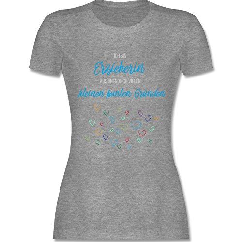 Sonstige Berufe - Erzieherin aus vielen kleinen Gründen - tailliertes Premium T-Shirt mit Rundhalsausschnitt für Damen Grau Meliert