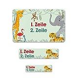 Striefchen® Namensetiketten - Tiere des Dschungels - 177 Stück in 3 verschiedenen Größen