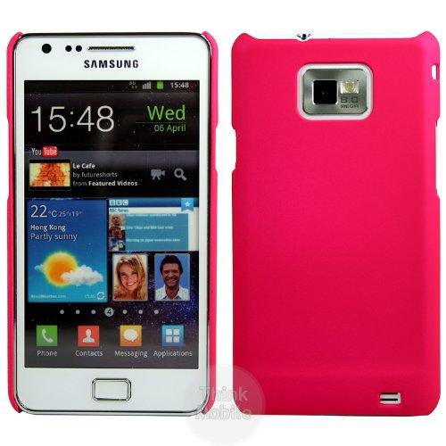 Samsung Galaxy S2 i9100 Harte Schutzhülle Case - Pink Gummi Hybrid Hart Hard Case Schutz Hülle Etui Für Samsung Galaxy S2 i9100 - thinkmobile (Galaxy S2-gummi-handy-fällen)