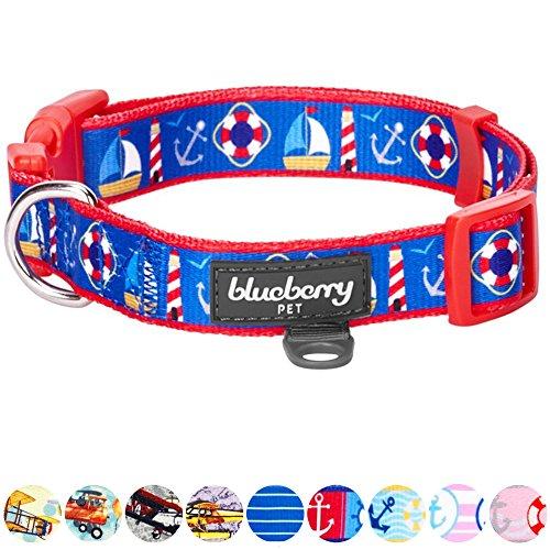 Blueberry Pet Halsbänder für Hunde 2,5 cm L Peace Bon Voyage Blauer Traum Designer Hundehalsband -