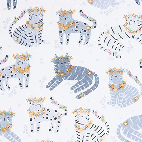 Timeless Treasures Tissu en Coton Blanc avec des Chats