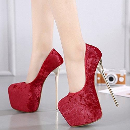 Oasap Damen Rund Mit Plattform High Heels Ohne Verschluss Pumps Red