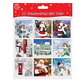 Pack of 18 Traditional Handcrafted Square Christmas Gift Tags