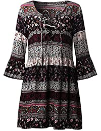 LILICAT Mujeres Floral impresión Boho vestido de tres cuartos de manga de las señoras vestido de fiesta de…