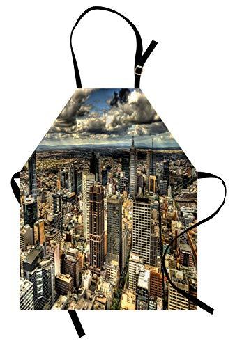 (ABAKUHAUS Städtisch Kochschürze, Melbourne-Stadtbild-moderner Australien-Architektur-Gebäude-Metropolen-drastischer Himmel, Farbfest Höhenverstellbar Waschbar Klarer Digitaldruck, Mehrfarbig)