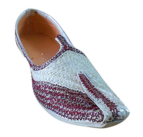 Kalra Creations , Chaussons pour homme Cream-Maroon